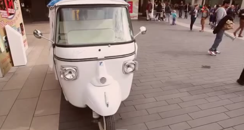 White Motorized Rickshaw Parked at London Westminster Area